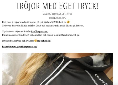 Amanda Svensson i hoodie med tryck