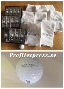 Sahlström Golf med Titleist Pro V1X och handdukar
