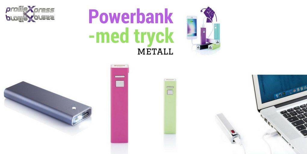 Powerbank med tryck i metal